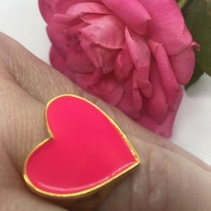 Vibrant Gold Ring with Large Pink Heart